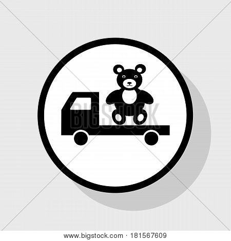 Truck with bear. Vector. Flat black icon in white circle with shadow at gray background.