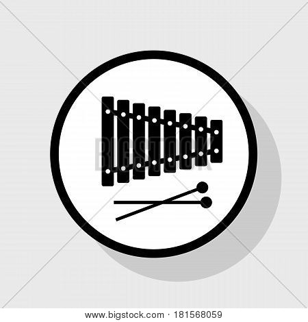 Xylophone sign. Vector. Flat black icon in white circle with shadow at gray background.