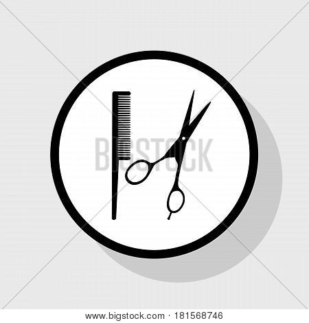 Barber shop sign. Vector. Flat black icon in white circle with shadow at gray background.