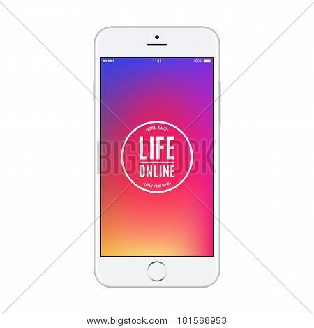 smartphone with blank colored screen isolated on white background. stock vector illustration eps10