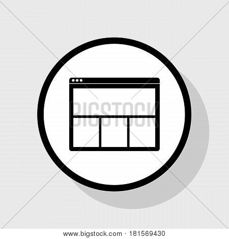 Web window sign. Vector. Flat black icon in white circle with shadow at gray background.