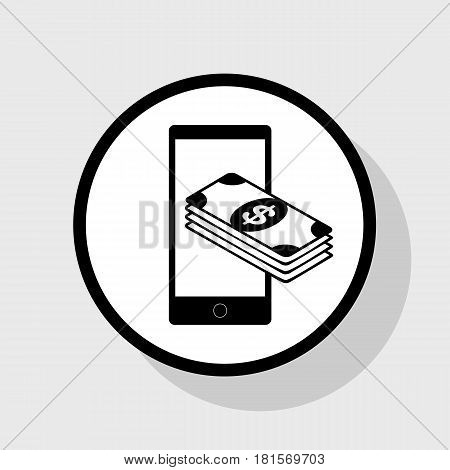 Payment, refill your mobile smart phone, . Vector. Flat black icon in white circle with shadow at gray background.