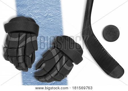 Gloves stick and puck on the ice hockey rink. Concept hockey line