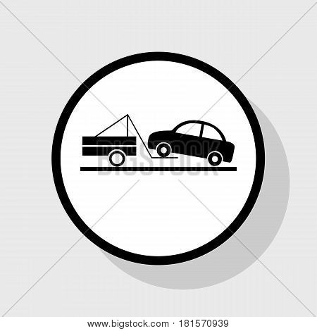 Tow truck sign. Vector. Flat black icon in white circle with shadow at gray background.