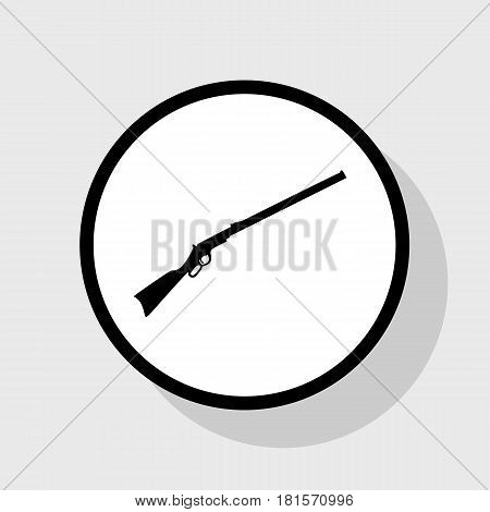 Hunting rifle icon vector illustration. Silhouette gun. Vector. Flat black icon in white circle with shadow at gray background.