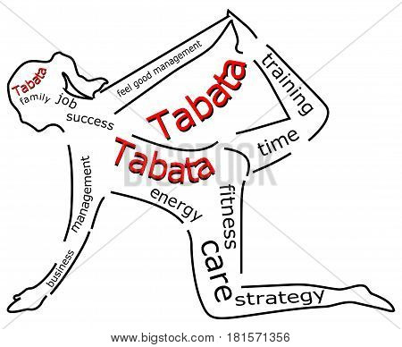 Tabata wordcloud on white background - illustration