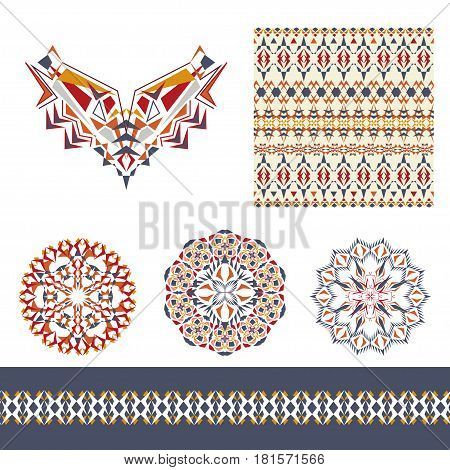 Vector set of decorative elements for design and fashion in ethnic tribal style. Neckline, seamless, border and mandala patterns. Aztec ornaments
