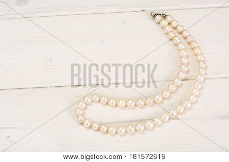 Beauty Pearl Necklace on white. Studio Photo.
