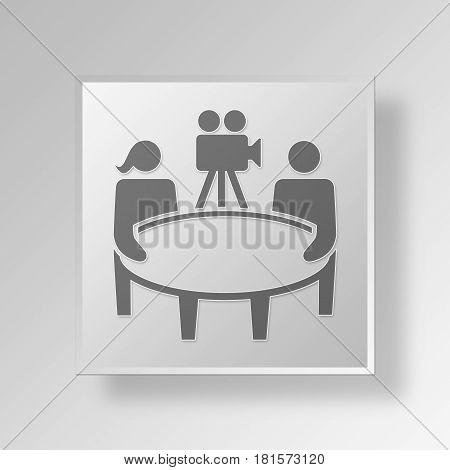 3D Symbol Gray Square Talkshow icon Business Concept