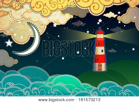 Cartoon beacon in the sea with clouds