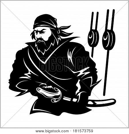 Attacking pirate - black and white vector illustration isolated on white
