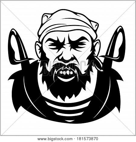 Pirate Captain holding two swords and bandanna - black and white vector illustration isolated on white