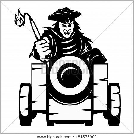 Pirate canon - pirate themed design elements - black and white vector illustration isolated on white