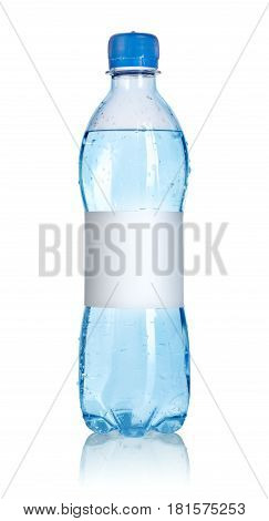 Soda water bottle with blank label isolated on white background. Clipping path