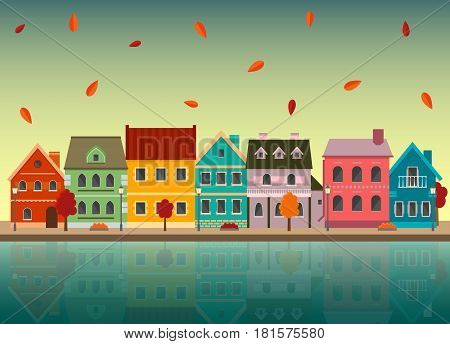 Autumn cityscape. Urban landscape in the fall with reflection in the water. EPS10 vector illustration in flat style.