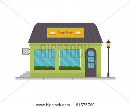 Bookstore building icon. EPS10 vector illustration in flat style.