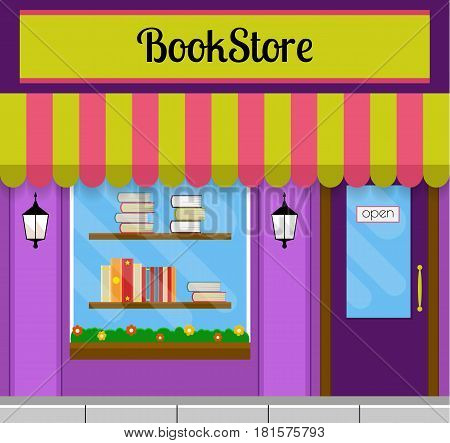 Bookshop facade in flat style. EPS10 vector illustration of city public building square architecture. Small business store design.