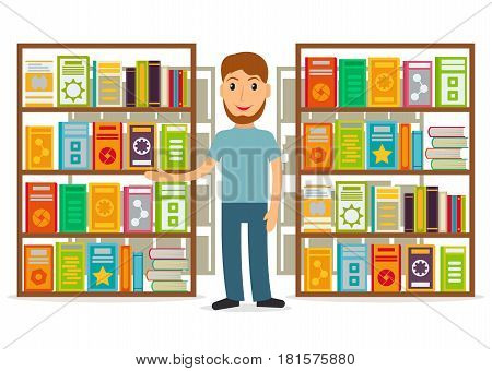 Male bookseller against shelves with books in flat style. Vector illustration of smiling man selling books at the bookstore or librarian at the library.