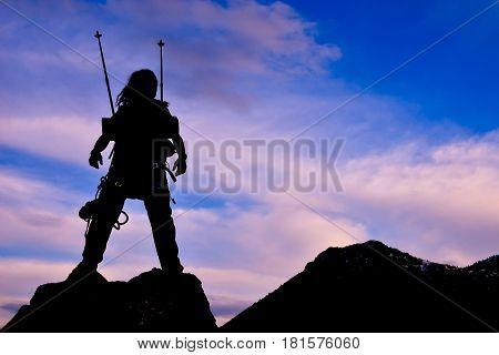 joy of success;successful mountaineering activity.Happy mountaineer.alone mountaineer