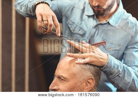 Enjoying creating new style. Skillful professional young master standing in the salon and cutting hair of the aged man while using scissors and comb
