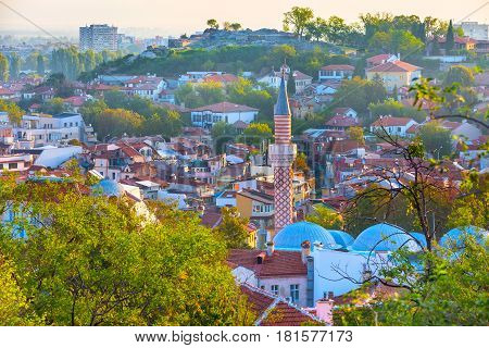 Plovdiv aerial skyline panorama, Bulgaria with Djumaya mosque tower and houses