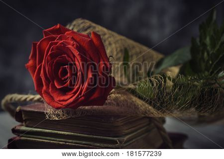 a red rose on a pile of old books, on a rustic surface, for Sant Jordi, the Catalan name for Saint Georges Day, when it is tradition to give red roses and books in Catalonia, Spain