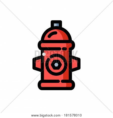 line icon red fire hydrant, isolated vector illustration