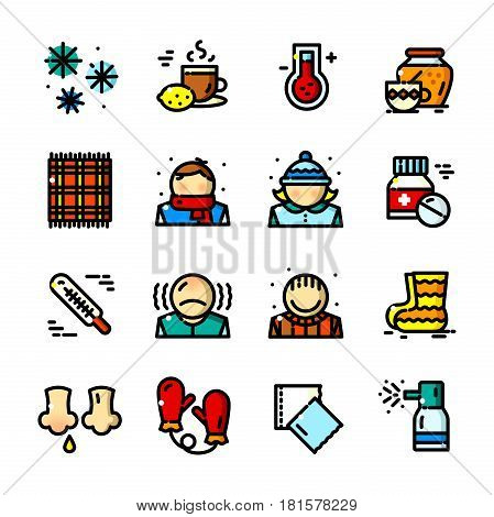 Thin line Colds icons set, Seasonal Diseases outline logos vector illustration