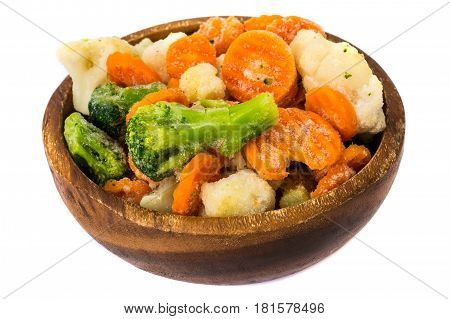 Frozen vegetables mix on plate. Studio Photo