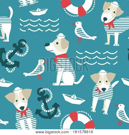 Sailor terrier dog seamless pattern. Marine objects background with cute dogs. Sea theme with pets and birds wallpaper.
