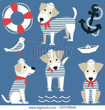 Terrier as a sailor and marine objects ison set. Cute dog dressed in a red bandana and white panama gull anchor lifebuoy and paper boat vector collection.