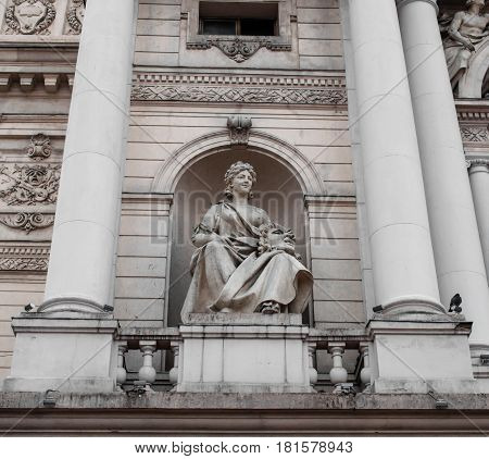 UKRAINE - February 21 2017: A sculpture on the opera house