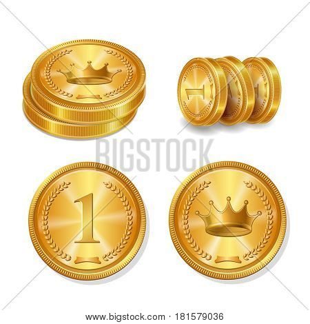 Golden coins set. Top view and stack Isolated vector