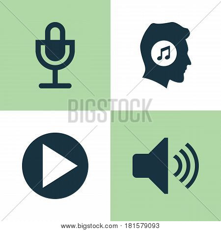 Multimedia Icons Set. Collection Of Start, Mike, Meloman And Other Elements. Also Includes Symbols Such As Speaker, Play, Mike.