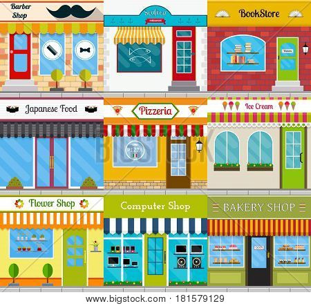 Set of different store fronts in flat style. Vector illustration of city public buildings square architecture. Collection of small business buildings facades design. Various food restaurants facades.