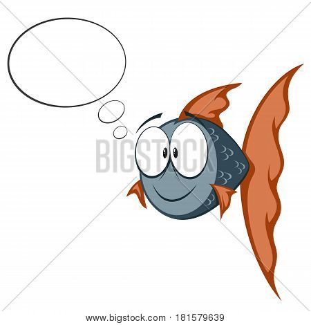 cartoon goldfish (blue and orange) smiling with text bubbles