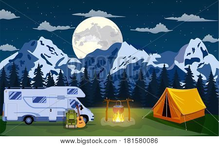 Family Adventure Camping Evening Scene. Tent, Campfire, backpack with giutar, Caravan camper motorhome rv and rocky mountains . vector illustration