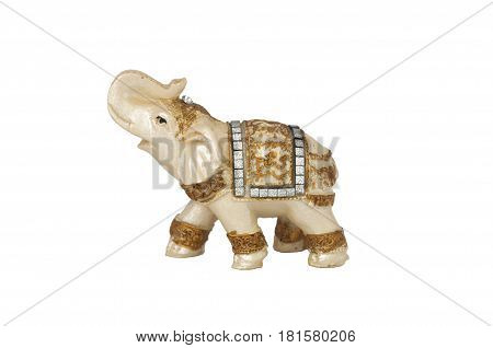 Elephant decorative statuette isolated on white background