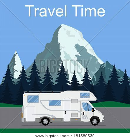 Caravan van driving on the road in the background of rural landscapes. RV Family trip to nature. Camping in the woods mountains in the background. Flat design vector illustration. travel concept