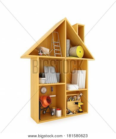 concept of the construction. Building materials and tools in a Dollhouse. 3D illustration