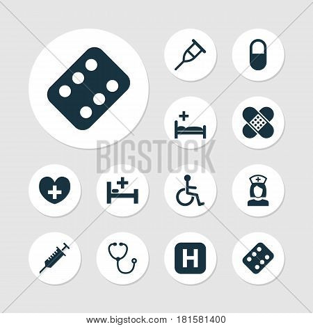 Medicine Icons Set. Collection Of Polyclinic, Remedy, Bandage Elements. Also Includes Symbols Such As Pill, Remedy, Pharmacy.
