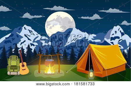 Family Adventure Camping Evening Scene. Tent, Campfire, backpack with giutar, Pine forest and rocky mountains Outdoor activities. vector illustration in flat design.