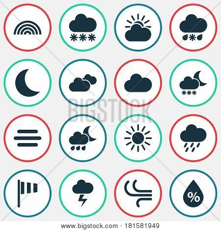 Climate Icons Set. Collection Of Nightly, Moisture, Snowy And Other Elements. Also Includes Symbols Such As Breeze, Rainy, Cloudy.