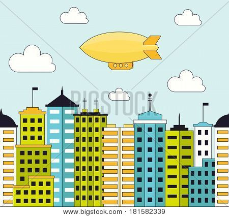 Flat cityscape with skyscrapers and airship seamless pattern. Urban landscape city with tall buildings. EPS10 vector illustration in flat style.