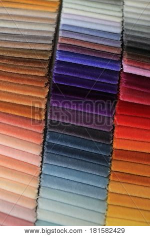Velvet swatches in an interior decoration shop