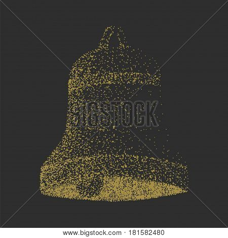 Hand drawn stippling bell. Stock vector illlustration in artistic grunge style.