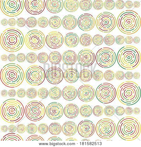 Seamless pattern with different size colorful circles in geometric order forming horizontal lines on white background. Stock vector illustration for wallpaper backdrop textile fabric.