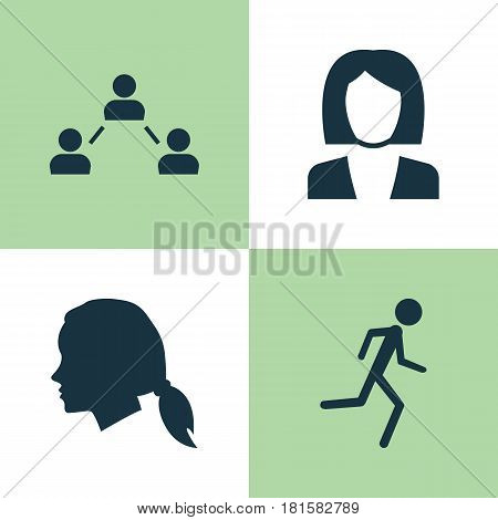 Person Icons Set. Collection Of Gentlewoman Head, Network, Running And Other Elements. Also Includes Symbols Such As Jogging, Female, Woman.
