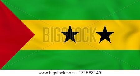 Sao Tome And Principe Waving Flag. Sao Tome And Principe National Flag Background Texture.
