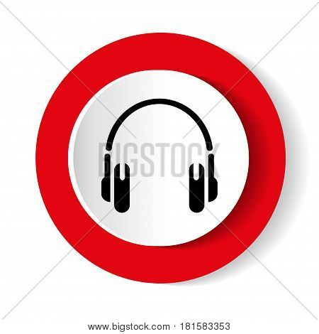 Red round icon with picture of headphones. Vector illustration.